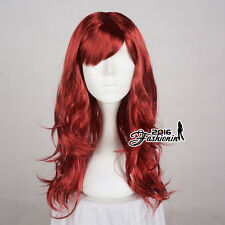 Long 60cm Party Wig Cosplay Dark Red Women Anime Hair Curly Ladies Full Wig