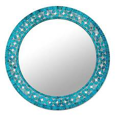 Glass Mosaic Round Wall Mirror 'Turquoise Blossom' Flower Design NOVICA India