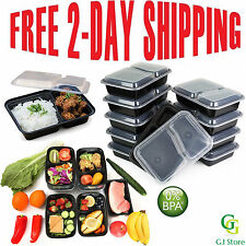 10 Meal Prep Containers Plastic Food Storage Reusable Microwavable 2 Compartment