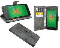 Handy-Tasche PU-Leder Flip-Cover Case für LENOVO MOTO G5 Book-Style in Anthrazit
