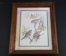 Birds in Tree by Paul Whitney Hunter  Vintage Wood Framed Art Print