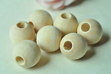 12pcs 25mm Round Wood Bead Spacer Wooden Unfinished Natural Ball Large Hole