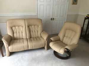 Himolla Zero Stress swivel recliner leather chair and Matching 2 seater Sofa.