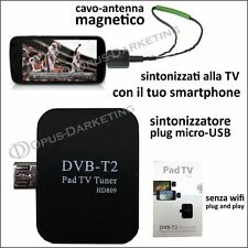 PAD ANDROID TV ANTENNA RECEIVER DECODER MICRO USB SMARTPHONE TELEVISIONE DIGITAL
