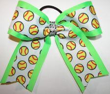 Softball Hair Bow Ponytail Holder Neon Green Sparkly Rhinestones Ribbons Spirit