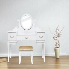 Schminktisch Frisiertisch Kosmetiktisch Spiegel Hocker Kommode Weiß Gold Tisch