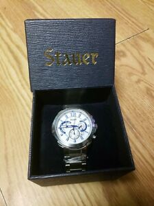 Stauer Mens Classic Watch in Blue and Silver with Chronograph Functions