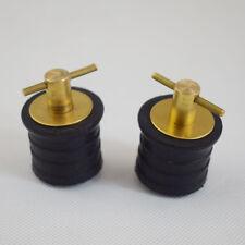 """2PCS 1"""" Twist Turn Hull Drain Plug Bass Tracker Lund  Rubber & Brass Adjustable"""