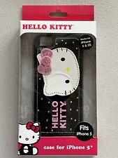 HELLO KITTY SANRIO APPLE IPHONE 5 5S  BLACK PINK BLING HARDSHELL CASE