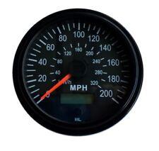 "Speedometer,programmable, 3-3/8""/86mm,200 MPH,LED light, black, 001-SP200-BB"