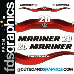 Mariner 20hp 4 stroke outboard engine decals/sticker kit
