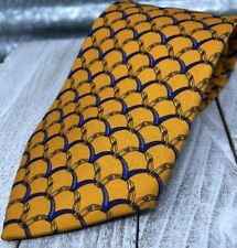 Brooks Brothers 100% Silk  Made in USA Mens Necktie Classic Gold & Blue Scales