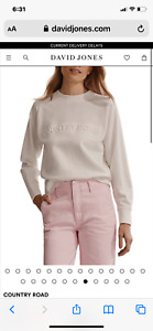 COUNTRY ROAD EMBOSSED LOGO SWEAT TOP White  XL 16  RRP$99.95 Worn once! Cotton