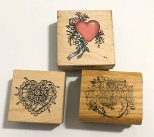 3 Small Rubber Stamps Hearts Ribbon Flower Ornate Valentines Love Scrapbook