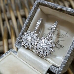 QVC Sterling Silver Leverback Earrings, Very Sparkly Cubic Zirconia, Huggie