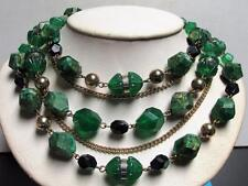Vintage 50's Chunky Plastic Bead Chain Necklace Green Multi 5 Strand W. Germany