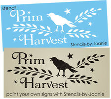 Joanie Stencil Primitive Harvest Crow Willow Wheat Stars Fall Market Art Signs
