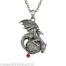 "Dragon Celtic Orb Red Gem Necklace Silver Lead Free Pewter 1 1/2"" Jewelry"