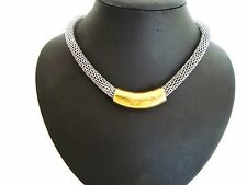 Stunning Chunky Unusual Gold & Silver Tube Bar Silver Chain Magnetic Necklace