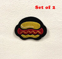Hot Dog Badge Clothes Iron on Sew on Embroidered Patch Set of 2
