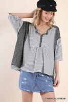 umgee 3/4 Sleeve striped slub knit hi lo tee shirt top S M L