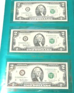 1995 $2 Premium Millennium 12 Note District Set Low Serial Number Stars OGP