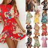 Women Short Sleeve Wrap Boho Floral Mini Dress Ladies Summer Sundress Holiday 12