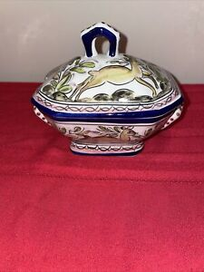 Vintage Ceramic Soup Tureen Hand Painted