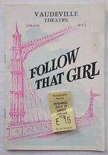 FOLLOW THAT GIRL.JULIAN SLADE.PROGRAMME TICK 27-7-58 ?.PETER GILMORE.S HAMPSHIRE
