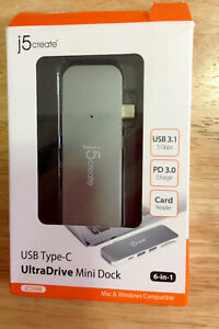 Authentic j5create JCD388 USB Type-C UltraDrive Mini Dock -FAST FREE SHIPPING-