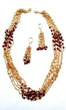 Multistrand Pearl and red Stone Resin Beads Gold Plated Necklace Set
