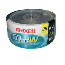 Maxell CD-RW Blank CDs 25 Pack Record Play Back New Sealed