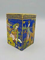 Antique Cloisonne Petite Enameled Box Intricate Gold Details Signed Exc!