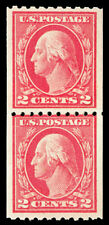 Scott 442 1914 2c Washington Issue Mint Paste-Up Pair VF OG NH Cat $55