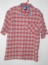 TOMMY HILLFIGER  Boys Plaid Short Sleeve Button Down Size M Medium