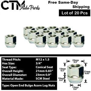 20Pc ZINC M12x1.5 OPEN END BULGE ACORN WHEEL LUG NUTS FIT CHEVY CADILLAC & MORE