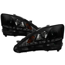Fit Lexus 06-10 IS250 IS350 Black Housing Smoke Lens DRL LED Projector Headlight