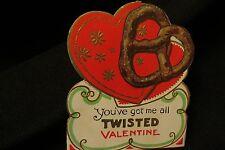 Vintage Pretzel Valentine card c. 1940s