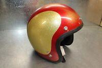 NEW 1966 SHOEI D-3A Vintage Motorcycle Helmet Red / Gold Metal Flake Medium