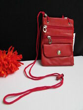 NEW WOMEN TRAVELING SMALL BAG WALLET HANDBAG GENUINE LEATHER HOT RED CROSSBODY