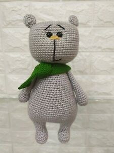Knitted bear, handmade soft toy,crochet teddy bear, nice gift