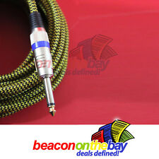 ASHTEC Aussie Made 10 Foot Guitar Lead Instrument Cable Noiseless Braided Tweed