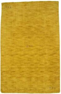 Hand-Loomed Solid Gold Contemporary 5X8 Oriental Modern Rug Home Decor Carpet