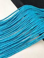 "Blue Magnesite Turquoise Heishi Discs Beads 2x4mm 15.5"" Strand"