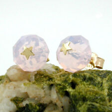 Stecker Glas rosa Pink Stern 14 KT Gold