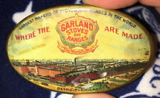 GARLAND STOVES RANGE Advertising Celluloid Vintage Pocket Mirror Detroit Chicago