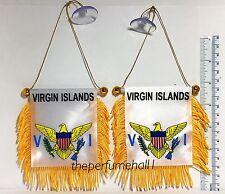 Virgin Islands Flag Mini Banner Car Window rear view Mirror 2pcs
