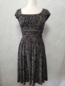 Coldwater Creek Womens sz 8 Brown  Dress Sleeveless Ruched Waist Pullover