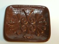 Vintage 1980 USA Pottery Caddie Pacific Brown Trinket Tray / Soap Dish