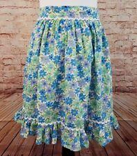 Vintage Half Apron Rickrack Ruffle Trim Blue Periwinkle Green White Floral